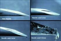 Used needles have more crevices for blood and viruses to adhere to, and can transmit disease. Image courtesy of NCHRC.