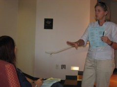 Senior PharmAssist Director Gina Upchurch explains a point during a recent class. Photo: Rose Hoban