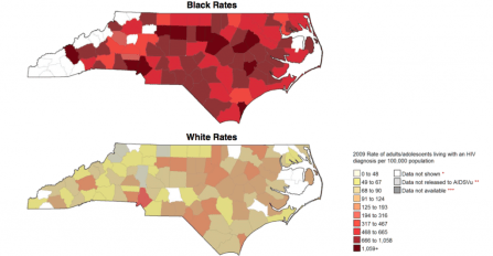 Map comparing HIV infection rates between blacks, whites