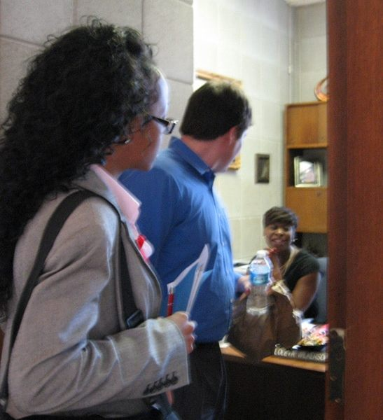 AIDS advocates stop in to talk to their legislator.