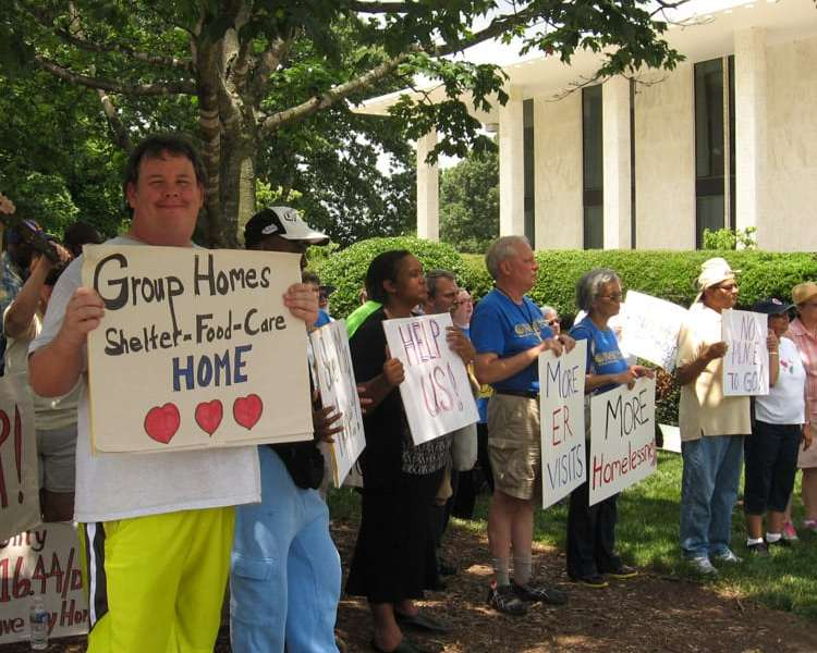 Group home residents and their advocates have been asking the Legislature for group home funding. They rallied in front of the General Assembly last month. Photo credit: Rose Hoban.