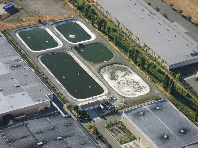 photo of sewage treatment plant ffrom the air