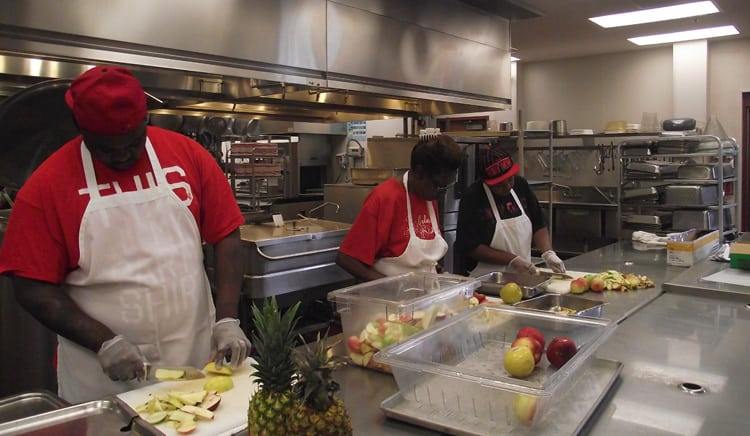 Trainees learn safe food preparation and handling skills at the IFFS