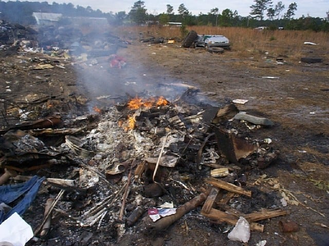 The burning of manmade materials. Under current state law, manmade materials may not be burned in the open air. Photo courtesy N.C. DENR