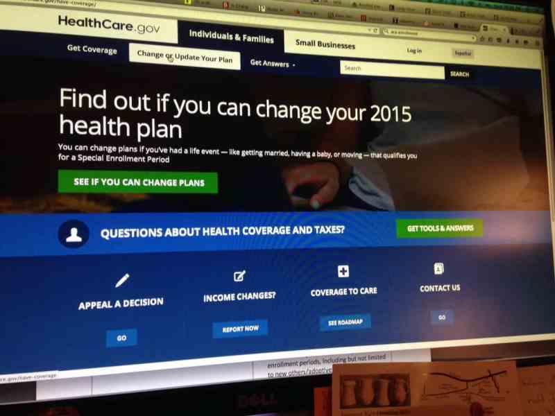 screen shot of obamacare online portal