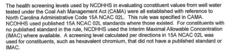 Excerpt from Megan Davies' resignation letter where she outlines the procedures followed to determine minimum levels of chromium 6 and vanadium in drinking water wells neighboring Duke Energy coal ash dumps.