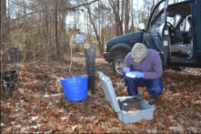 Elizabeth Gillispie draws a water sample from a state monitoring well near the North Carolina Zoo.