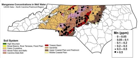 Well water samples give scientists more insight into where the highests levels of manganese are likely to turn up in drinking water wells in the Piedmont. The N.C. State University researchers plotted where they found those sites in well sampling data. Much of them cluster atop the Carolina Slate Belt.