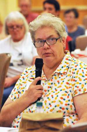 Long-time mental health advocate Martha Brock speaks during the Lives on the Hill event Sunday held on the NC State University campus. Brock said former patients need to have their voices heard in the process of creating a memorial to Dorothea Dix Hospital. Photo credit: Karen Tam