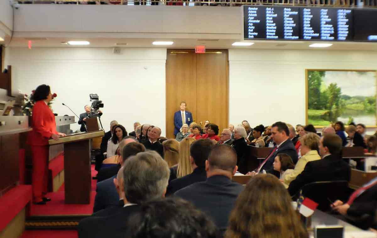 House Speaker Pro Tempore Rep. Sarah Stevens (R- Mt. Airy ) speaks at the opening of the 2017 legislative session.