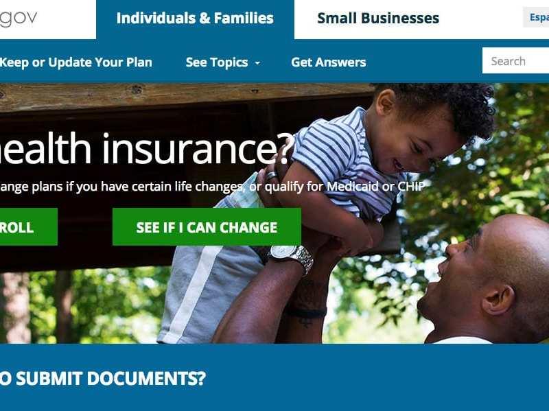 shows a screenshot of the homepage for healthcare.gov, aka, Obamacare