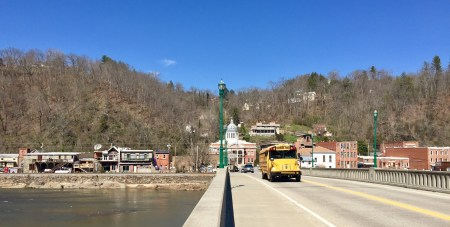 Downtown Marshall, looking across the bridge to the Madison County Courthouse