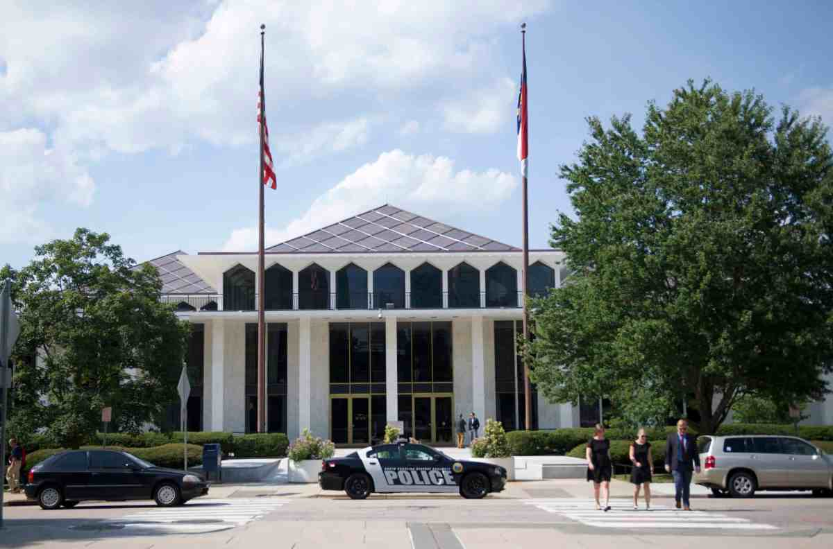 shows the front of the legislative building in Raleigh, general assembly