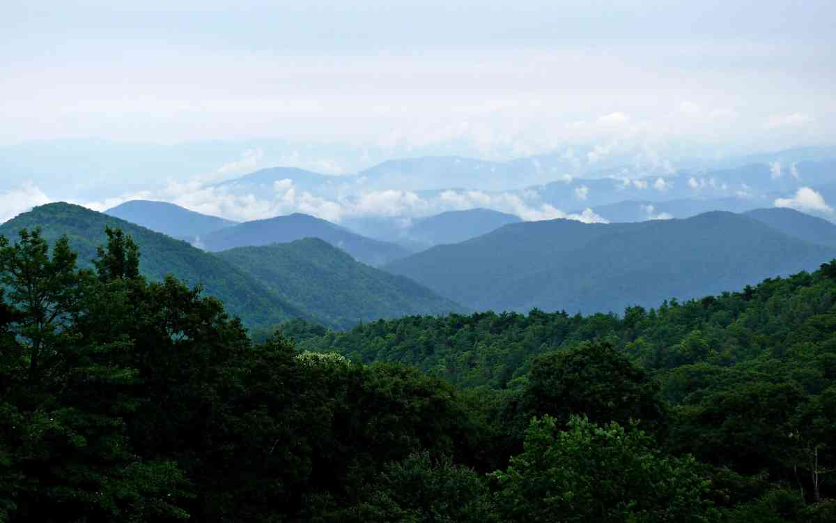 long distance landscape photo of mountains receding into the distance.