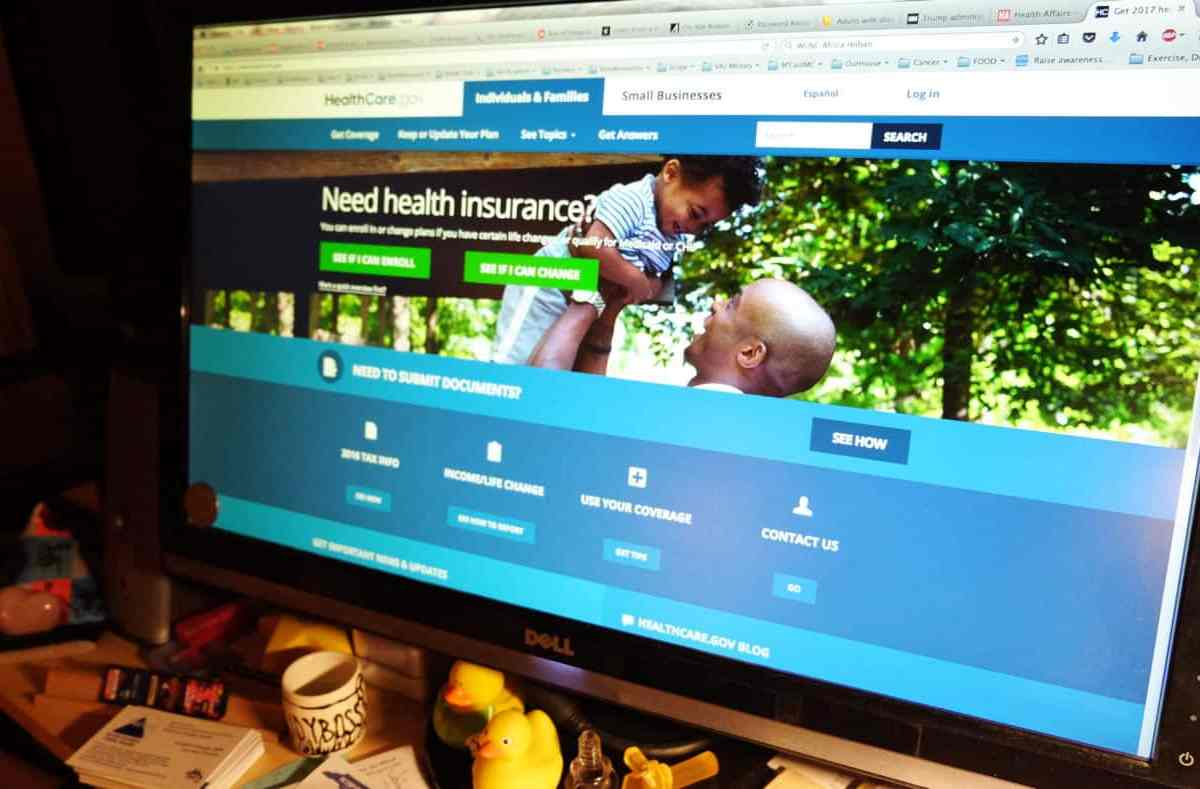 shows the home page of the Obamacare online health insurance marketplace