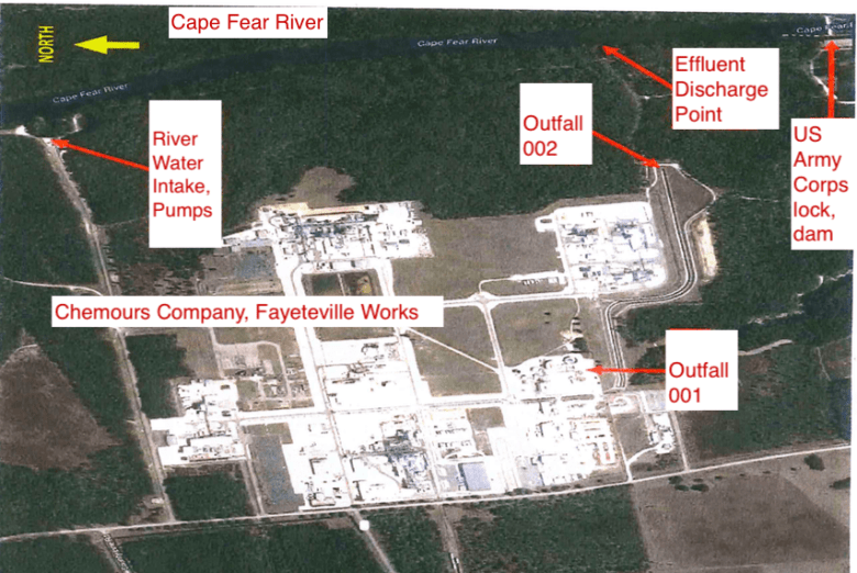 shows satellite photo with annotations of plant and processing area locations.
