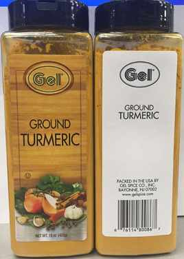 photo shows two large plastic container bottles of bright yellow turmeric