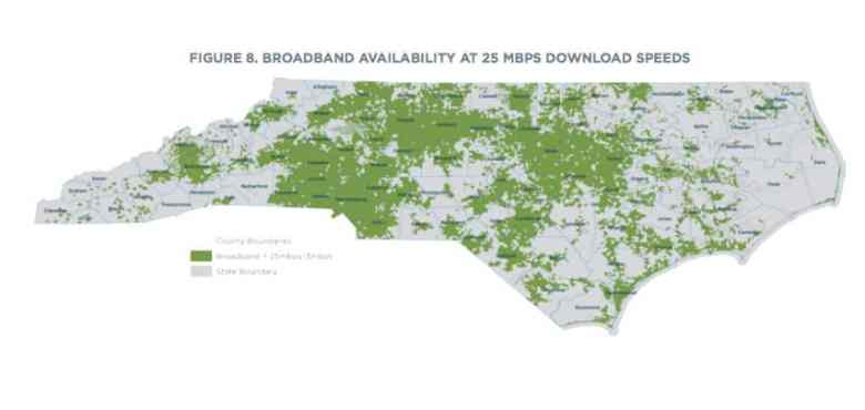 shows urban areas in green, to signify broadband availability, and large white expanses, to signify lack of broadband - and therefore telemedicine - access