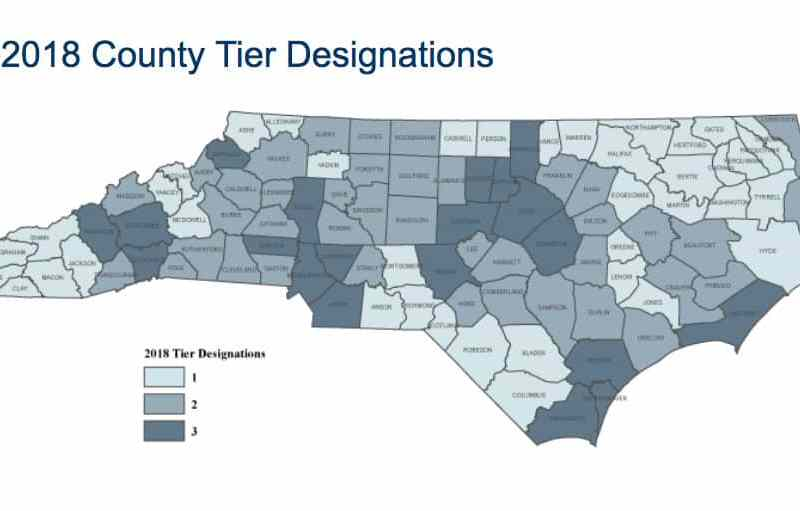 map shows economic rankings of all NC counties, with rural counties less prosperous than urban ones