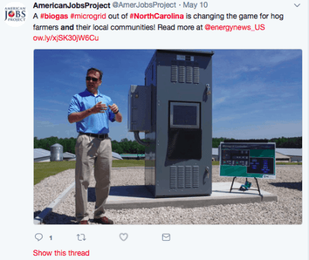 screenshot of a tweet from the American Jobs Project
