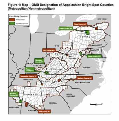 """Map of appalachian counties, red and green """"bright spots"""" are highlighted among the dozens of counties."""