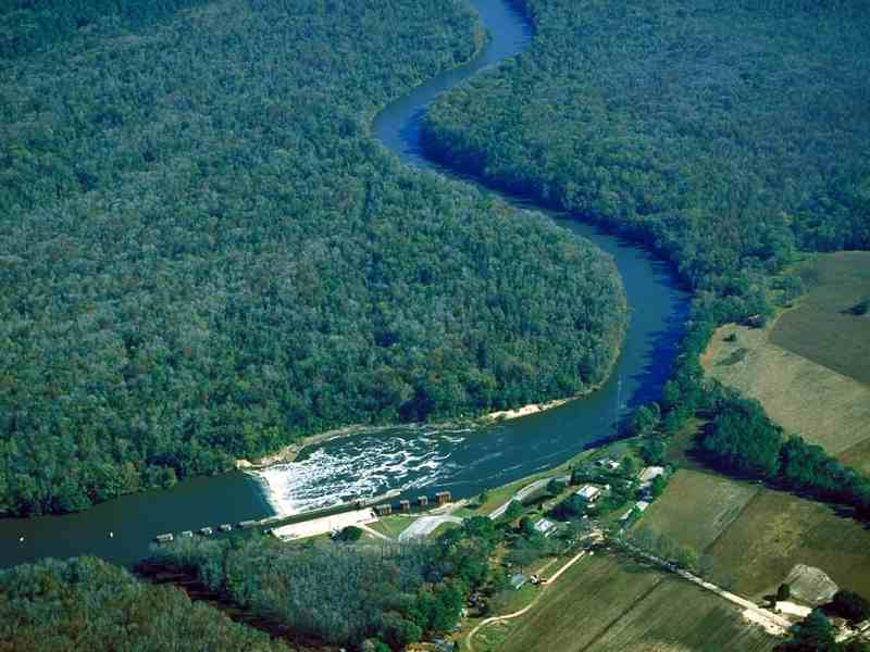 shows low level satellite photo of a dam feeding into a river, surrounded by trees, GenX