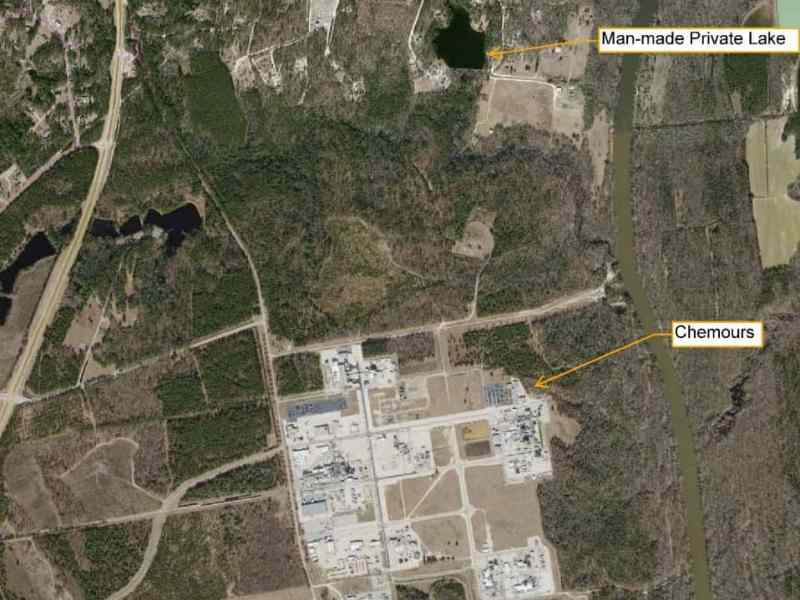 A satellite image of the Fayetteville Works Plant and a small lake a short distance north