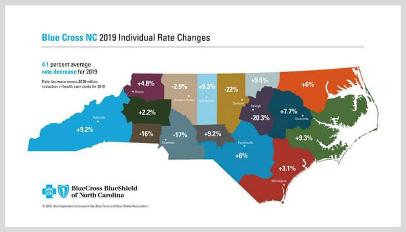 A map of North Carolina insurance premiums with 16 diffrent rate areas and each areas's increase shown.