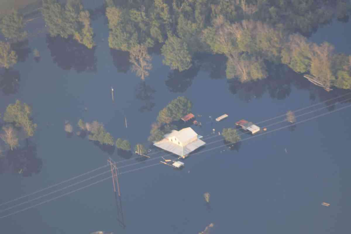 Farm building flooded in aftermath of Hurricane Florence in Wayne County, NC near Seven Springs.