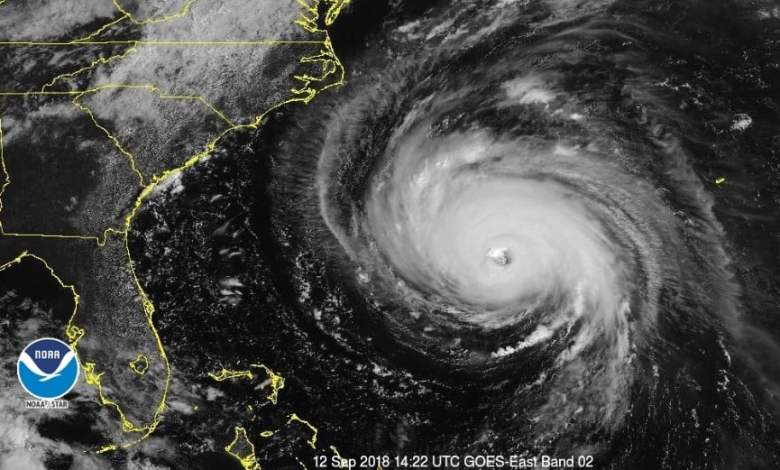satellite image shows Hurricane Florence approaching the coast. It's massive.