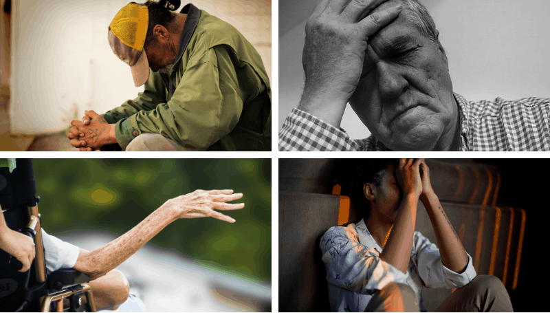 Four images of people in pain.