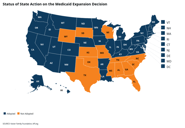 map shows large orange swath of states in the Southern US along with WY, SD and WI that have not expanded Medicaid