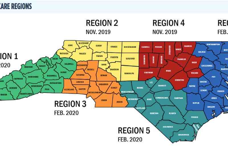 shows a map of North Carolina broken up into six regions for Medicaid managed care provision