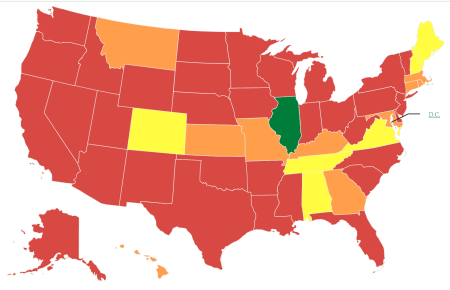 A colored map of the U.S., most states are red, a few are orange and yellow, Illinois is green