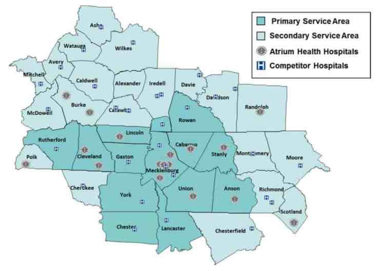 A map of a portion of North Carolina and some of South Carolina with icons for hospitals