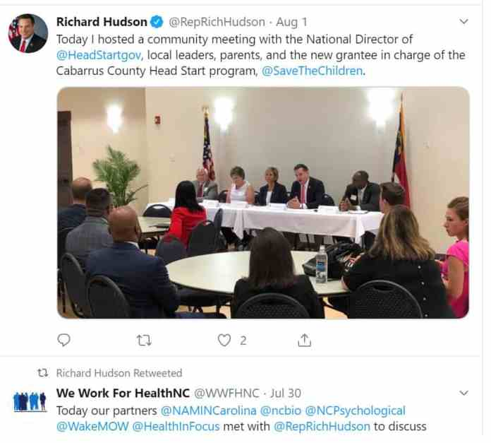 Richard Hudson post of a meeting with Head Start