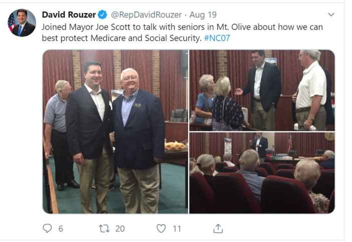 Congress man David Rouzer of meeting in Mt. Olive with seniors