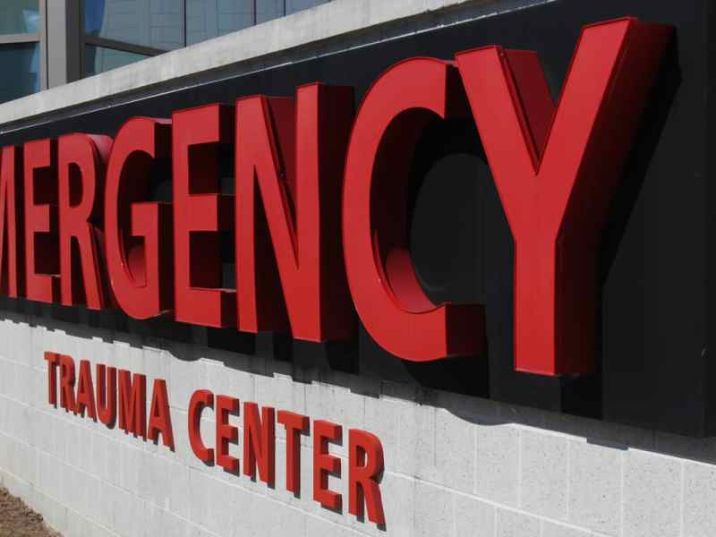 """There's sign with red letters that says """"Emergency Trauma Center."""" That sign is near the entrance to the New Hanover Regional Medical Center ER"""