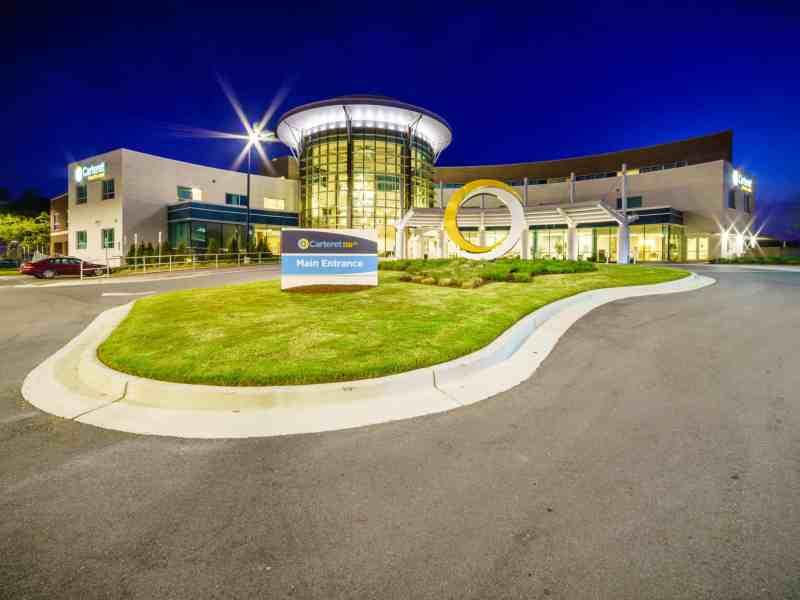 Carteret Health Care building shot at night