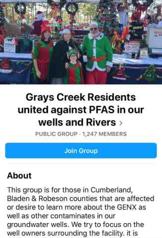 """A screenshot of a Facebook group called """"Grays creek residents united against PFAS in out wells and rivers"""""""