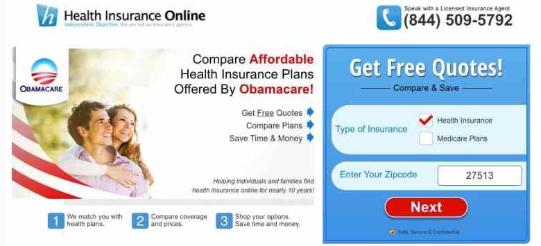 A site that markets short-term insurance plans