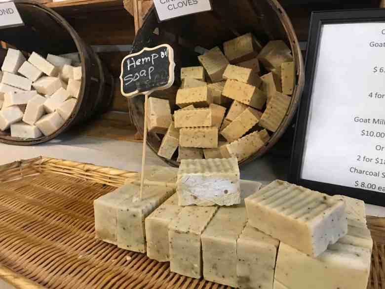 display showing soap made with what is likely smokable hemp