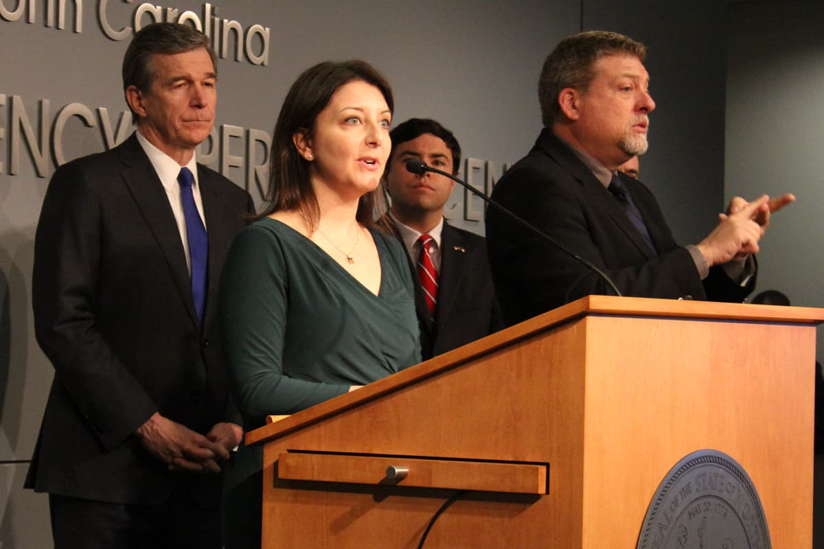 Sec. Mandy Cohen at a COVID-19 press conference that announced the closings of K-12 schools