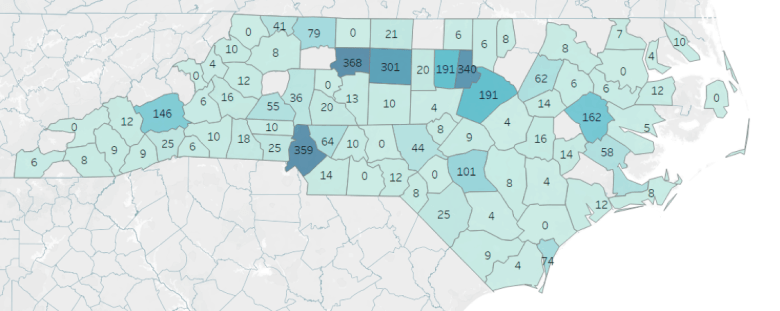 shows the number of beds in each county, Durham has the most.