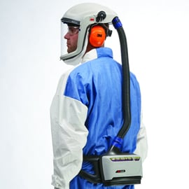 PAPR device used for personal protection by health care workers (PPE)