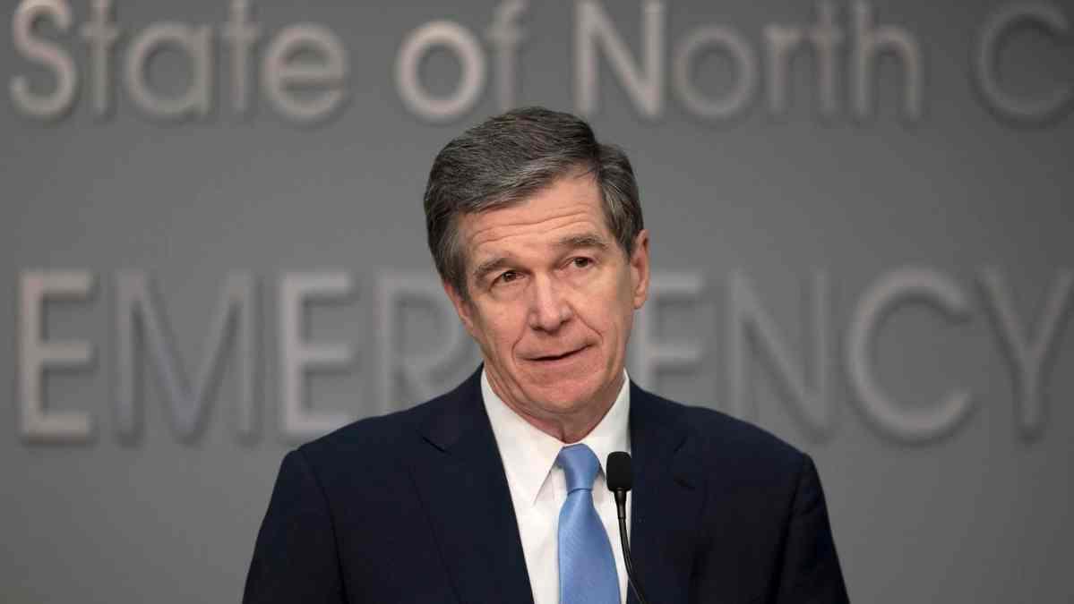 North Carolina Gov Roy Cooper speaks at an emergency briefing about coronavirus