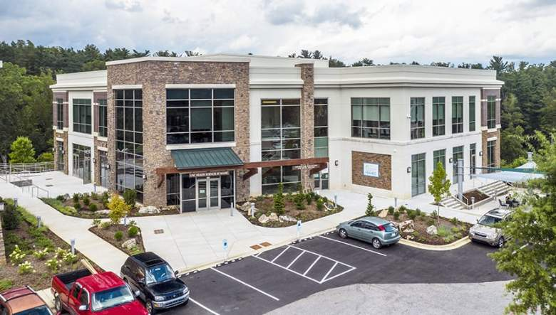 A photo of a medical building that houses MAHEC, an agency which among other things is part of a hub and spokes effort to help people with opioid addiction.