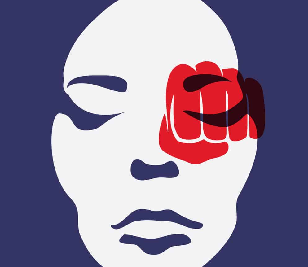 shows a dramatic purple and white image of a woman's face with a red image of a fist over one eye