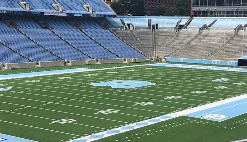 Empty Carolina blue and green football field