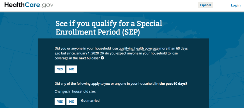 """screenshot of insurance marketplace website with questions, """"SEe if you qualify for a special enrollment period"""""""